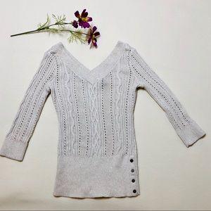 WHBM V-Neck Open Stitch Metallic Detail Sweater XS